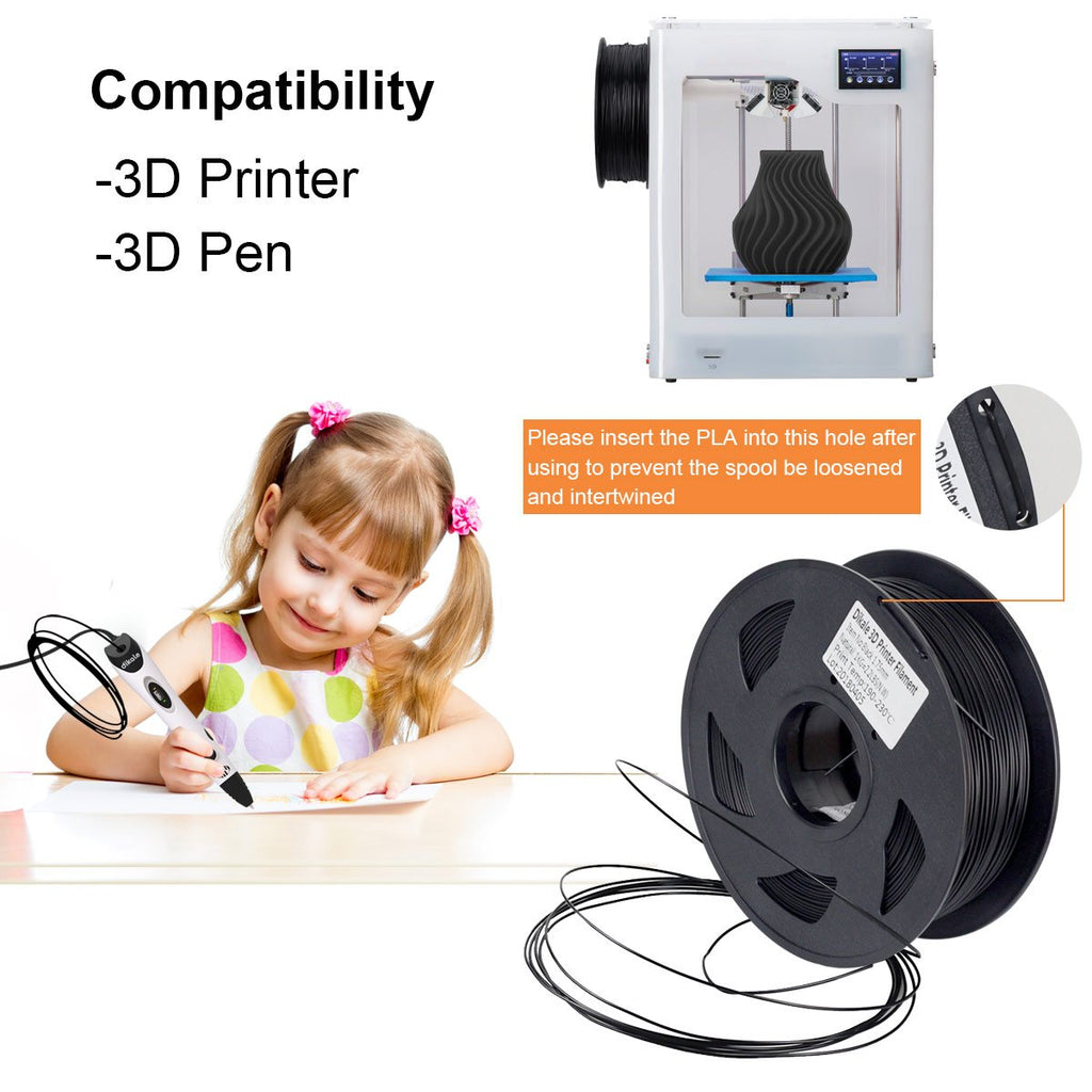 1kg 1.75mm Black 3D PLA Filament Spool For 3D Pen & Printer