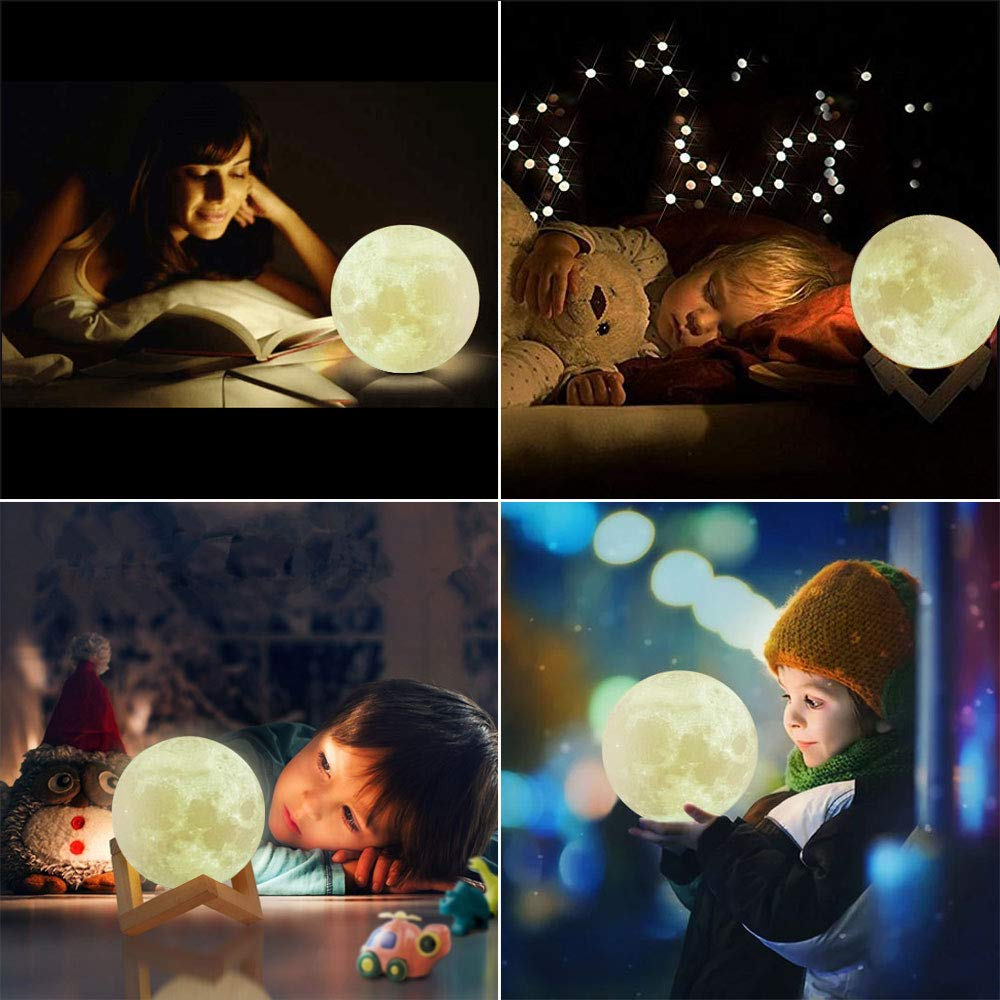 Dikale LED 3D Print Moon Lamp with Stand & Remote&Touch Control and USB Rechargeable, Moon Light Lamps Night Lights for Baby Kids Lover Birthday Party Gifts