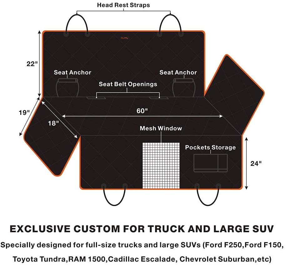 iBuddy Dog Seat Cover for Trucks with Mesh Window Perfect for F150, Ram 1500, Tundra and Large SUVs