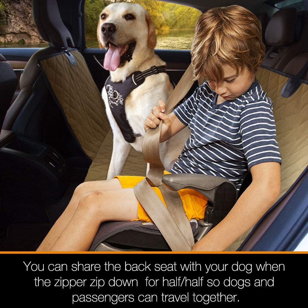 iBuddy Dog Car Seat Covers Waterproof Split Dog Hammock with split zipper for Cars and Suvs