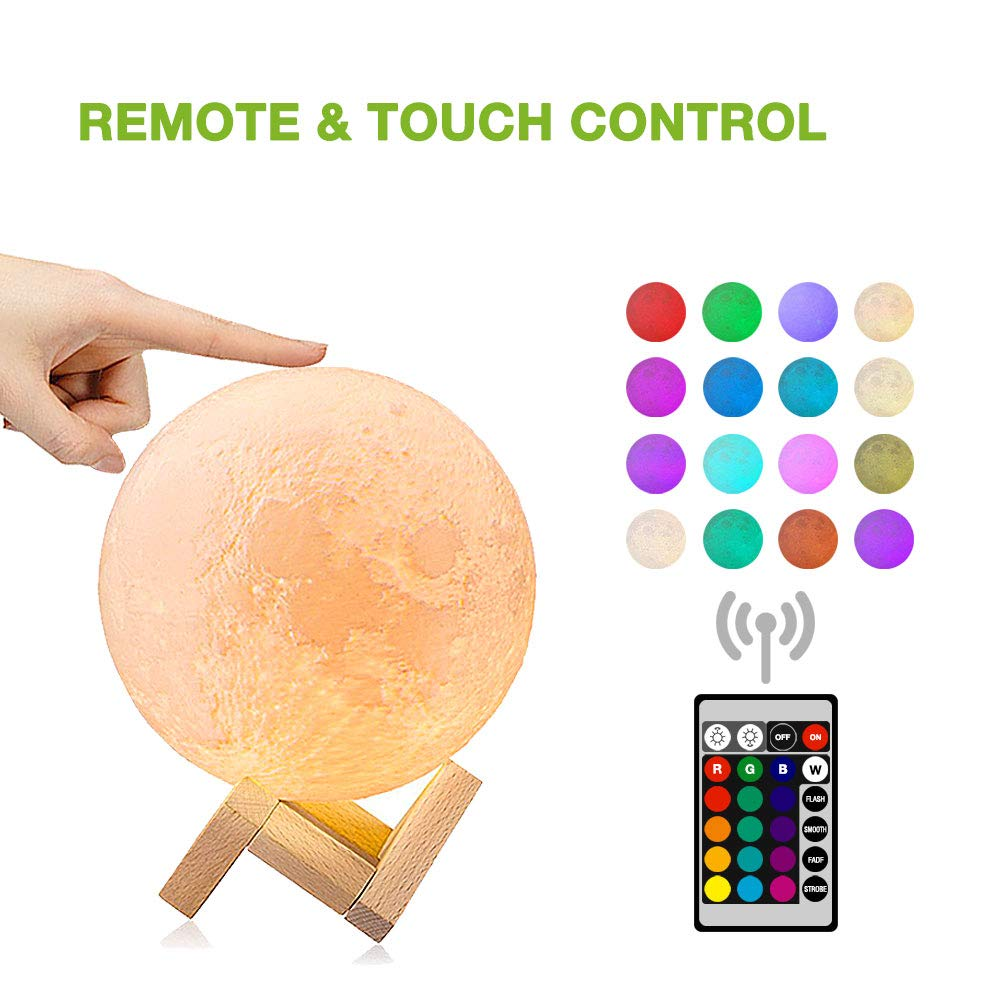 Moon lamp(5.9 inch), Dikale LED 3D Print Moon Lamp with Stand & Remote&Touch Control and USB Rechargeable