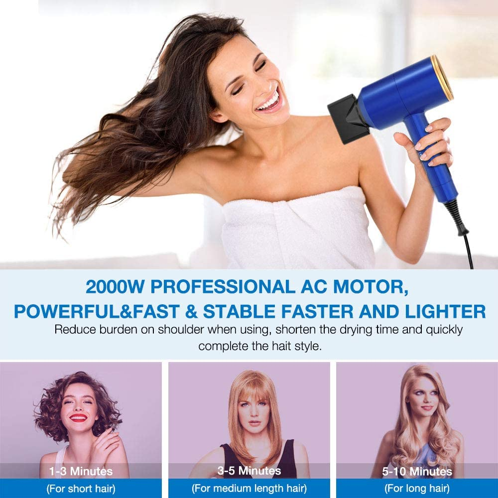 Lassie® 2000 Watt Hair Dryer with Diffuser Hot and Cool Settings 2 Speed Adjustable Negative Ionic Hair Blow Dryer  for Curly Hair,Woman,Kids