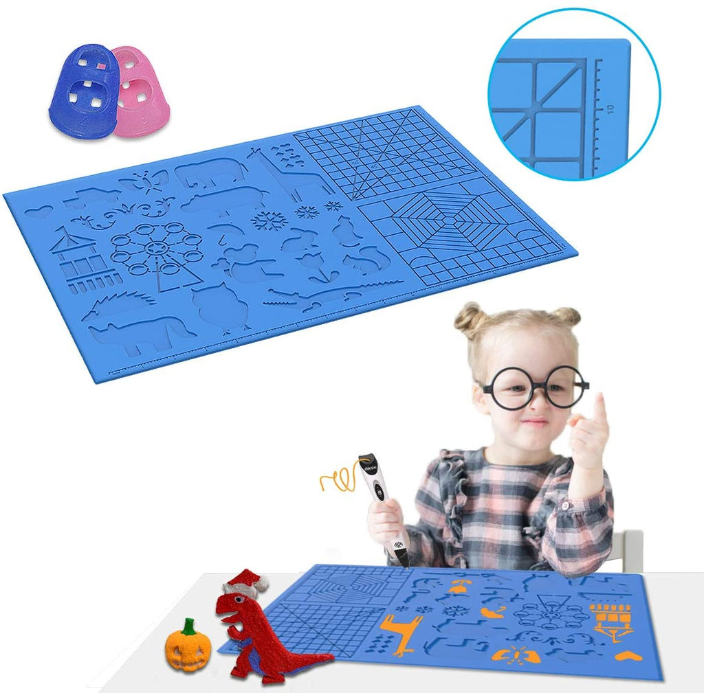 3D Pen Mat large 3D Printing Pen Silicone Design Mat with basic and animal patterns ,3D Pens Drawing Tools for kids and 3D pen artists