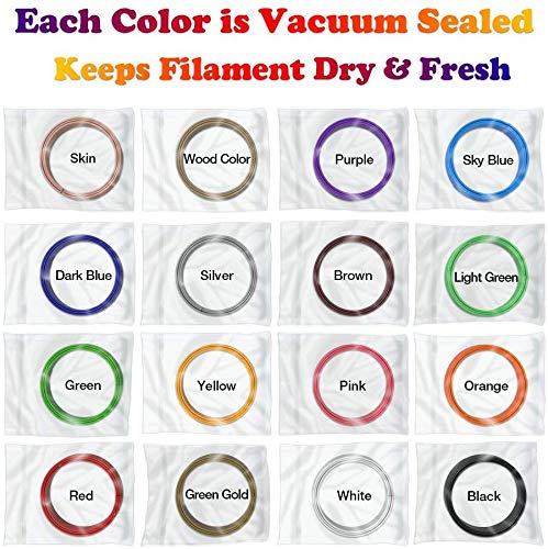 PLA 1.75mm 3D Pen Filament Refills 320 Feet In Total 16 Colors