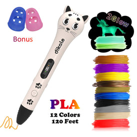 dikale 3D Pen with PLA Filament Refills  Bonus 12 Colors 120 Feet PLA 250 Stencil eBook for Kids Adults