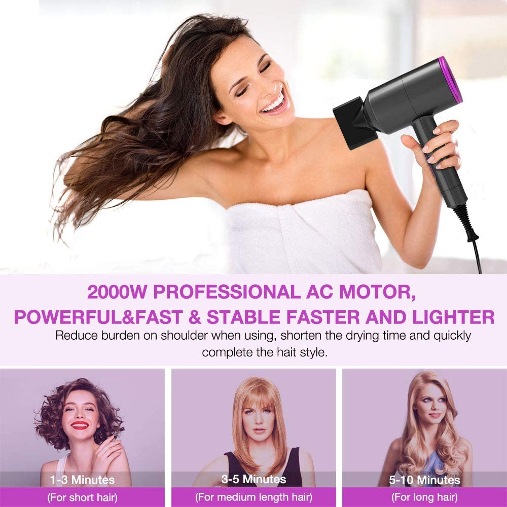 Lassie® Ion Hair Dryer with Diffuser,  Hot and Cool Settings 2 Speed Adjustable Negative Ionic Hair Blow Dryer  for Curly Hair,Woman,Kids