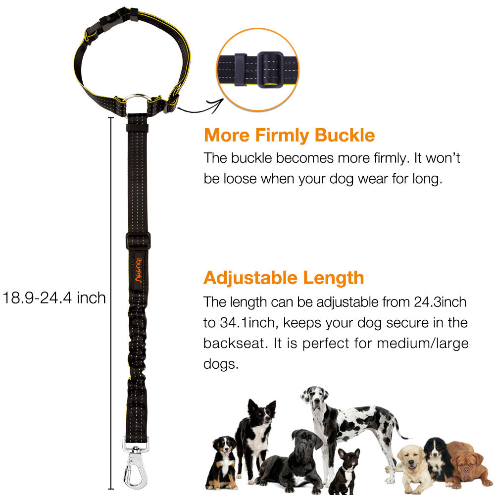 iBuddy Adjustable Dog Seatbelt Attached Headrest with Dual Safe Hook  for Small/Medium/Large Dogs
