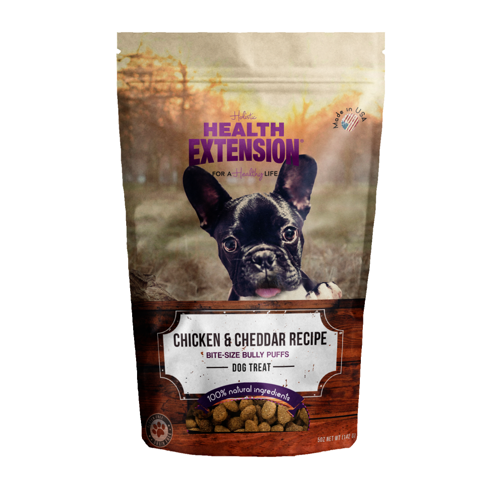 Health Extension Bully Puffs Chicken and Cheddar Dog Treats
