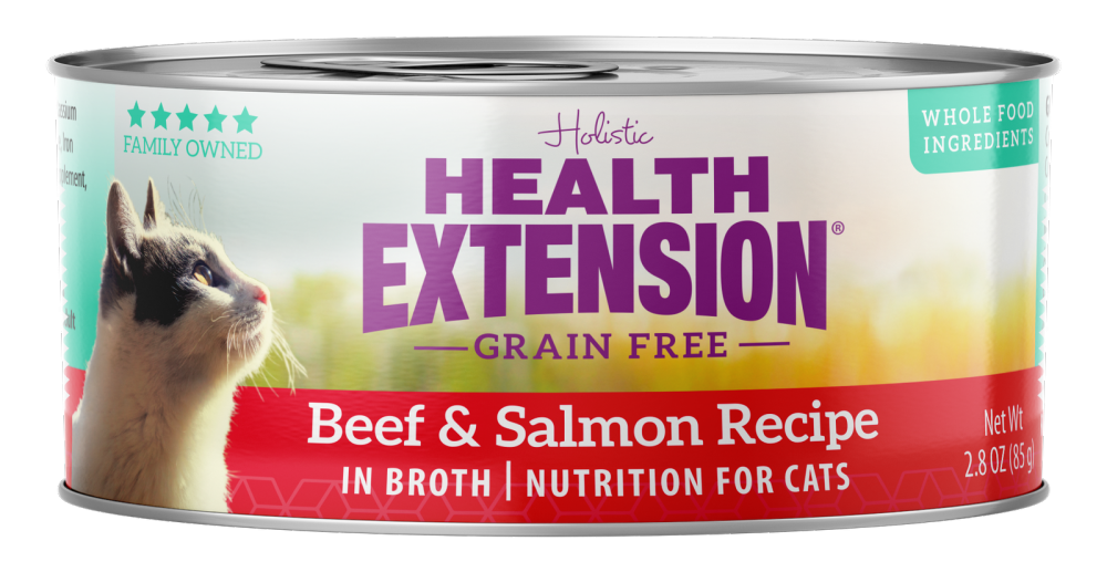 Health Extension Grain Free Beef and Salmon Recipe Canned Cat Food