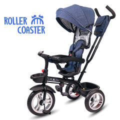 Roller Coaster - Premium Tricycle with Canopy and Push Bar (Blue)