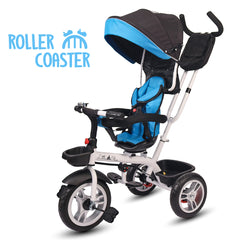 Roller Coaster - Premium Tricycle with Canopy and Push Bar (Blue& Black)