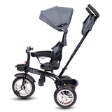 Roller Coaster - Premium Tricycle with Canopy and Push Bar (Grey)