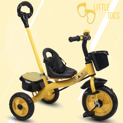 Refurbished - Little Toes Baby Tricycle for Kids with Push Bar (Yellow)