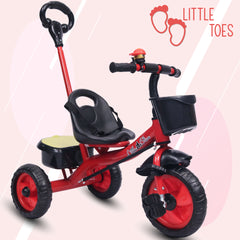 Refurbished - Little Toes Baby Tricycle for Kids with Push Bar (Red)