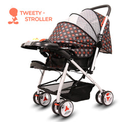 Tweety Reversible Stroller and Pram with Singing Food Tray (Chocolate Brown)