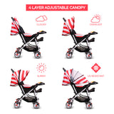 Tweety Reversible Stroller and Pram with Singing Food Tray (Red White Stripes)