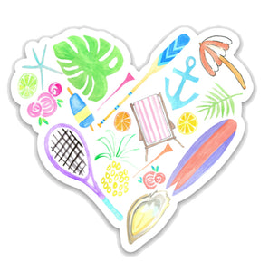 Coastal Heart Sticker
