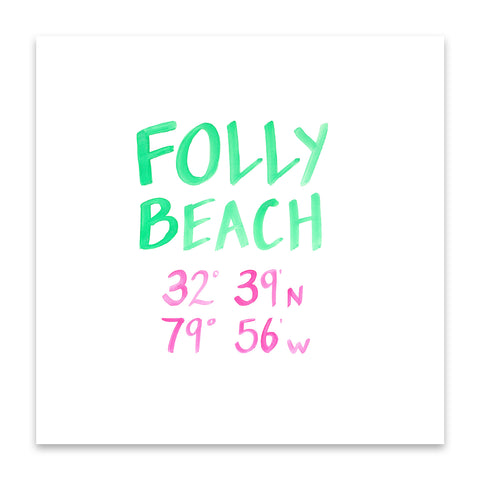 folly beach coordinate print