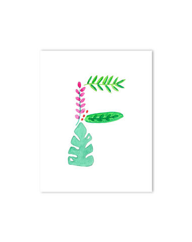 Tropical F Letter Print