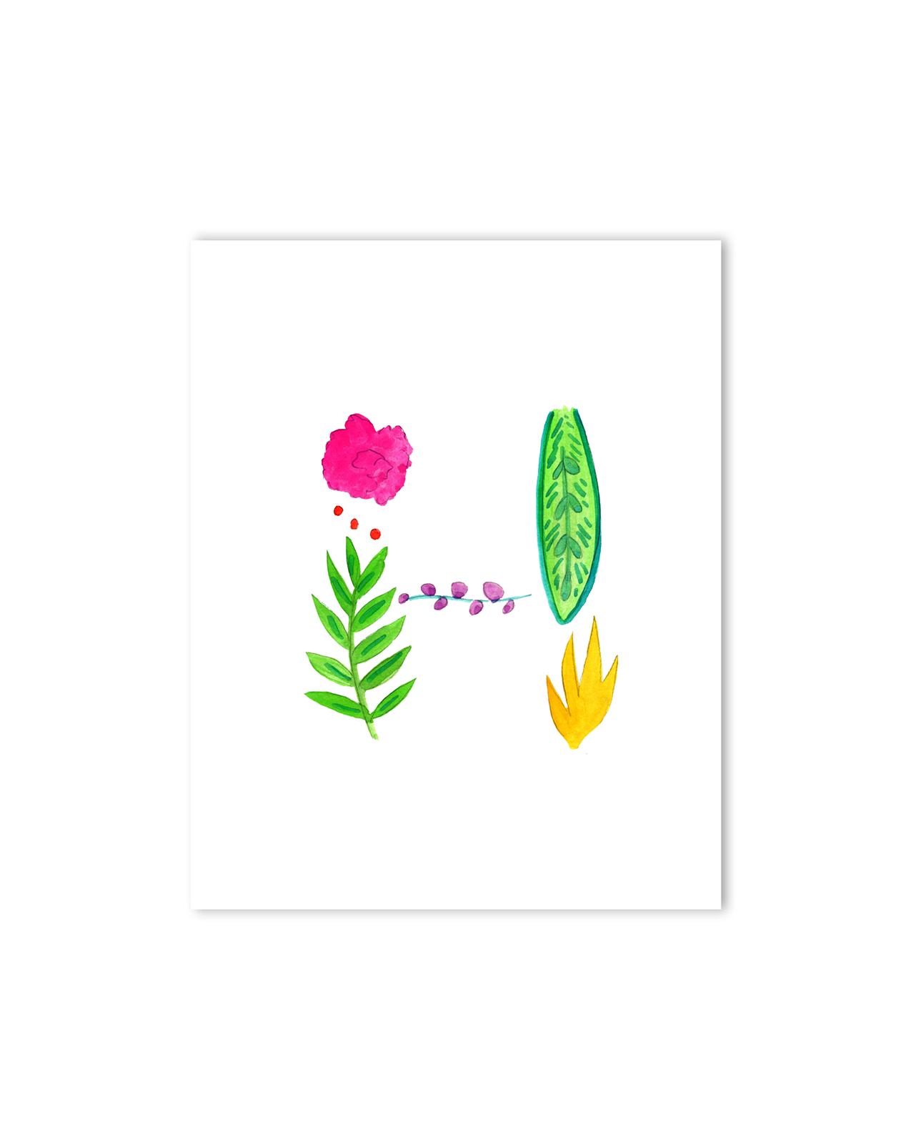 Tropical H Letter Print
