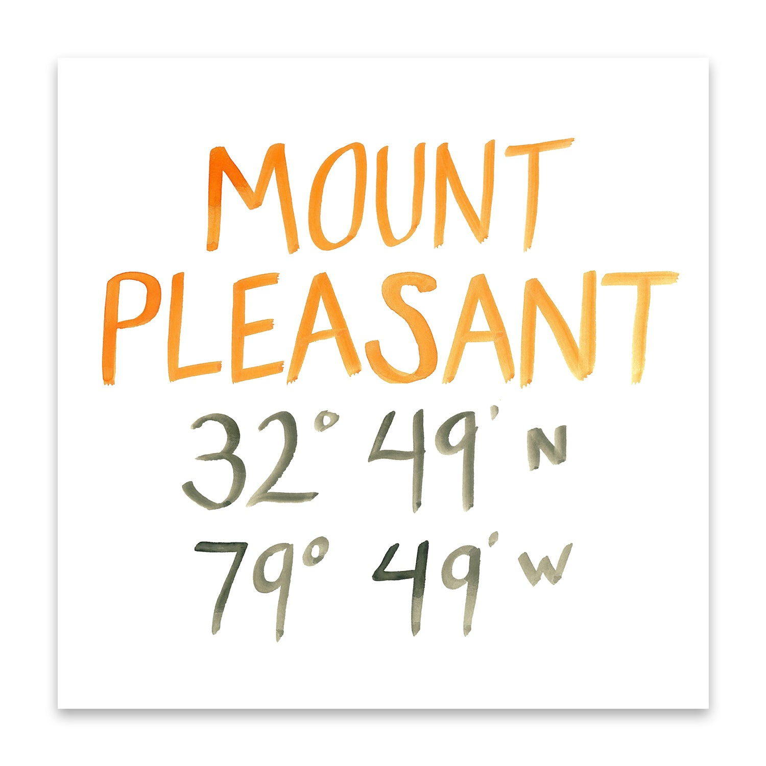 Mount Pleasant coordinate print