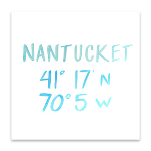 Nantucket Island Coordinate Print