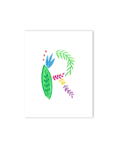 Tropical R Letter Print