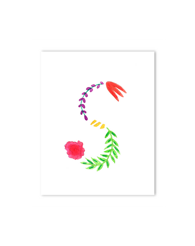 Tropical S Letter Print