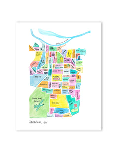 savannah neighborhood map print