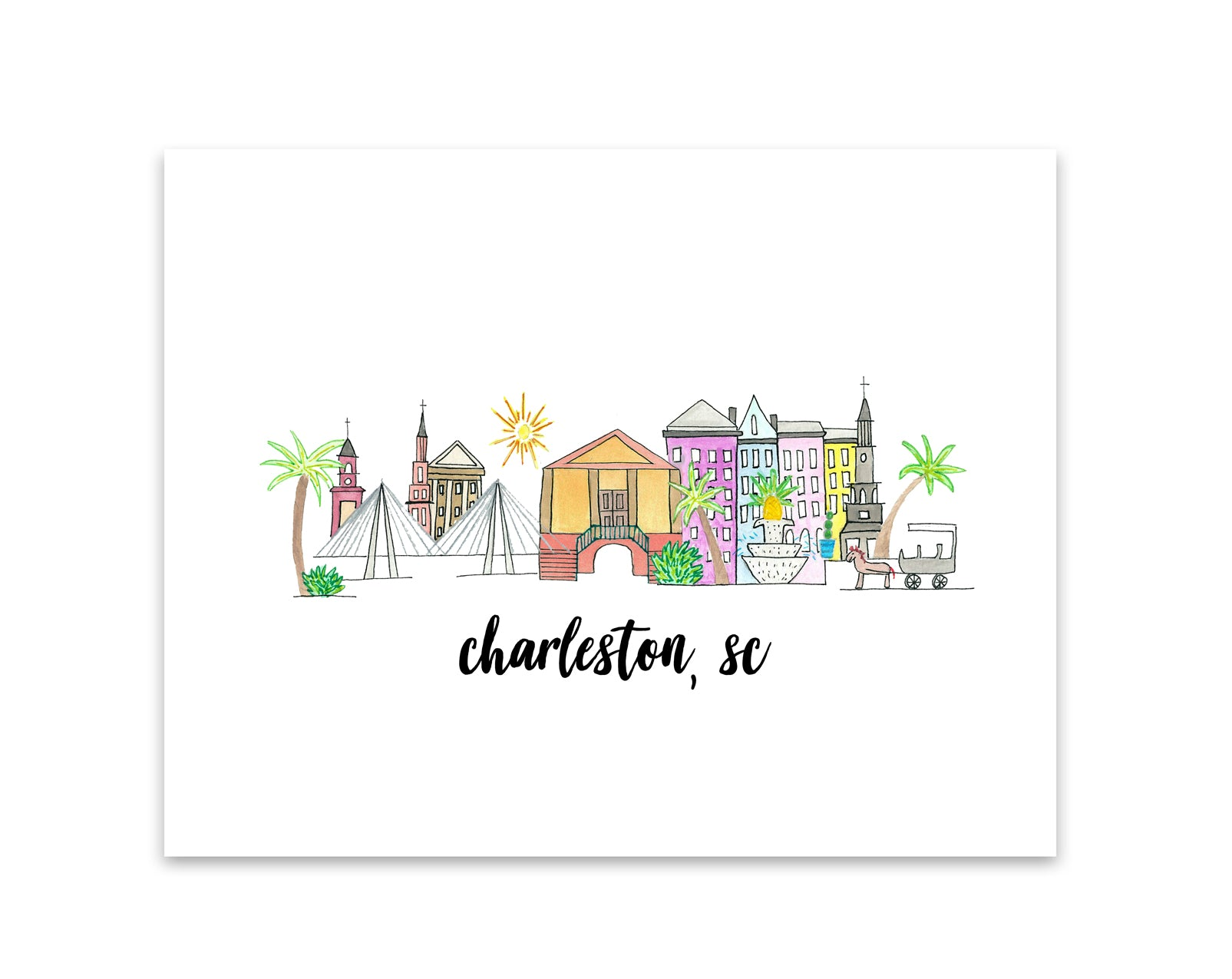 charleston south carolina skyline print