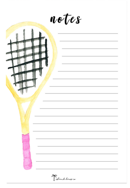 Tennis Notepad Stationery