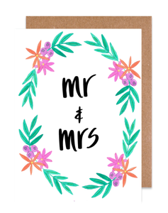 Mr & Mrs Floral Card