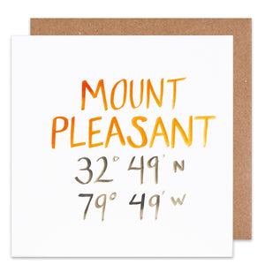 Mount Pleasant coordinate card