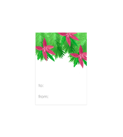 Poinsettia Holiday Gift Tags