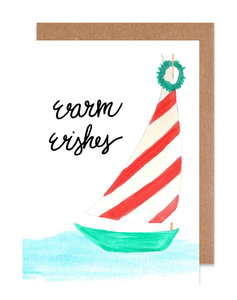 Sailboat Warm Wishes Holiday Card