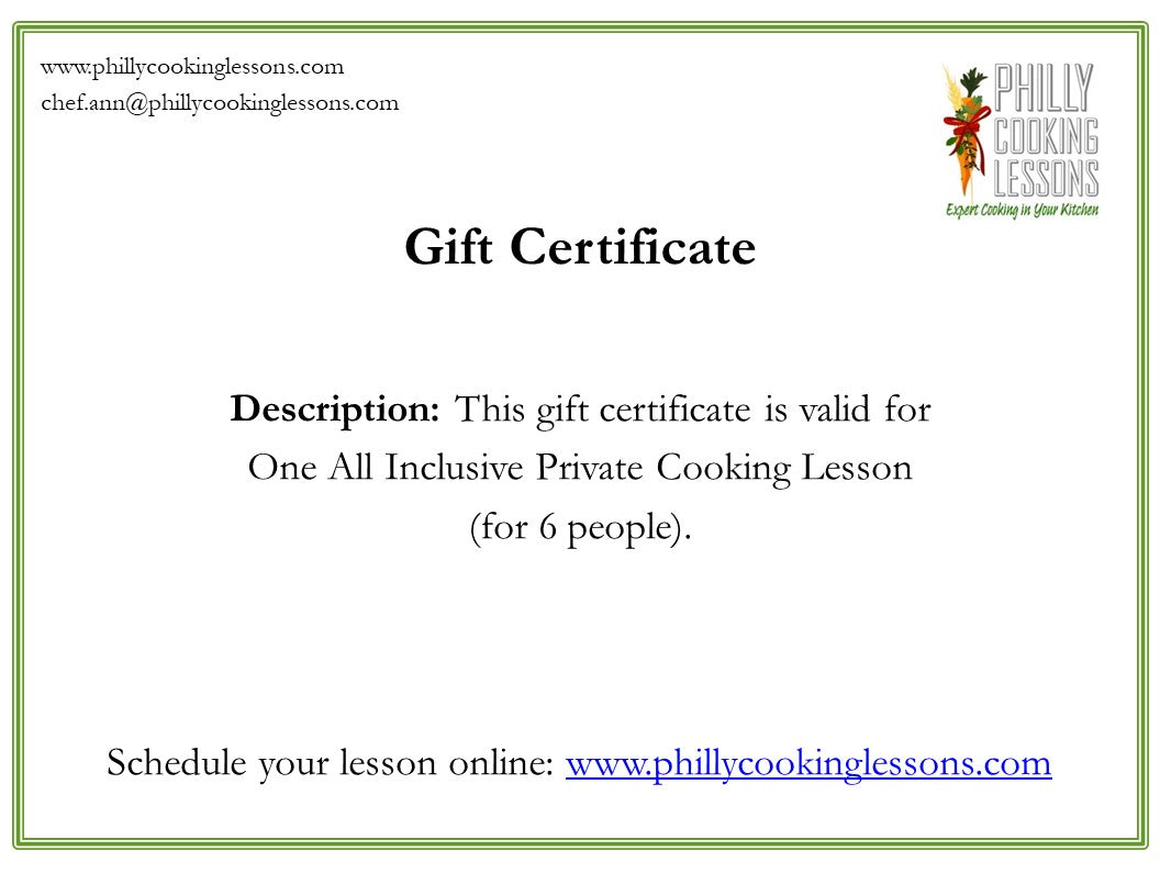 All Inclusive Cooking Lesson Gift Card (for 6 people)