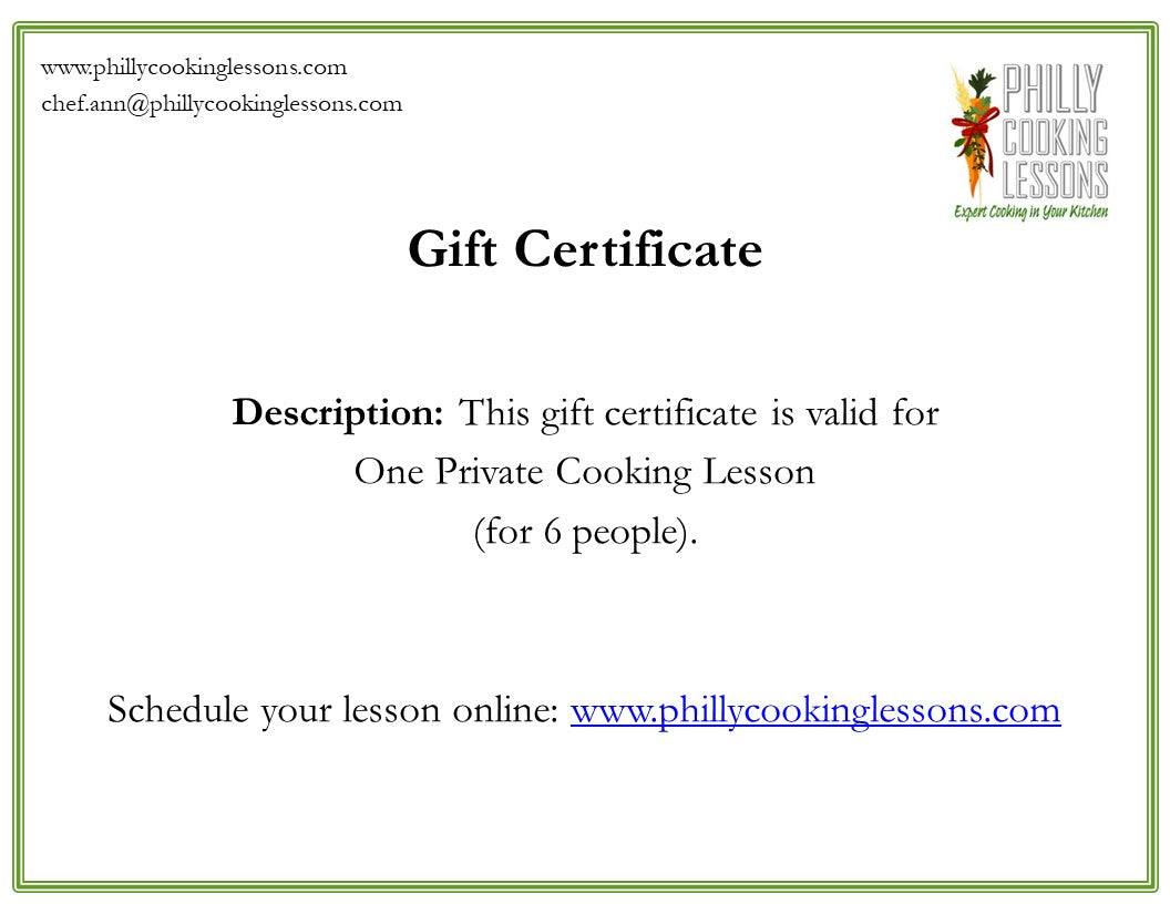Cooking Lesson Gift Card (for 6 people)