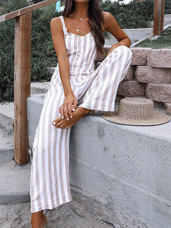 Gray Casual Stripes Sleeveless Jumpsuits