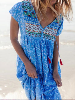 Cotton-Blend Short Sleeve V Neck Patchwork Dresses