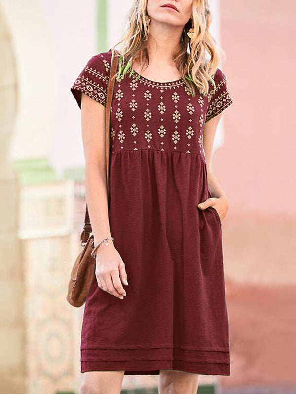 Casual Short Sleeve Crew Neck Pockets Dresses