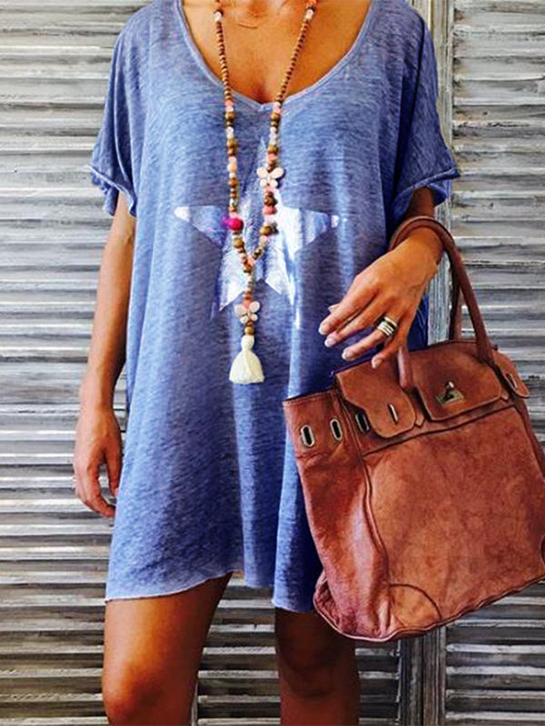 Casual Short Sleeve Round Neck Dresses