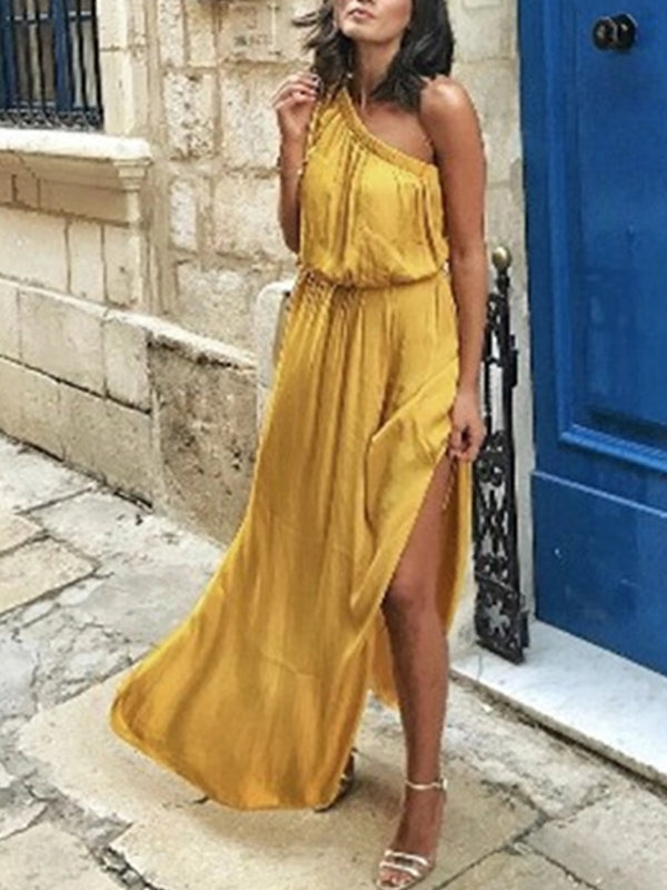 Yellow Boho Solid Dresses