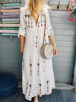 V Neck White Women Dresses Holiday Embroidered Dresses
