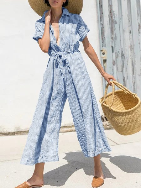 Buttoned Down Striped Wide Leg Jumpsuits