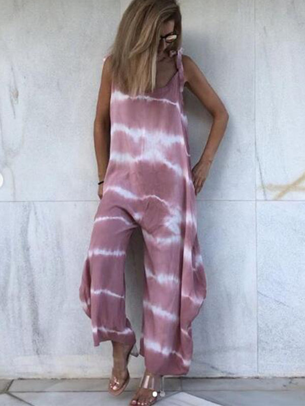 Tie-Dyed Crew Neck Spaghetti-Strap Jumpsuit