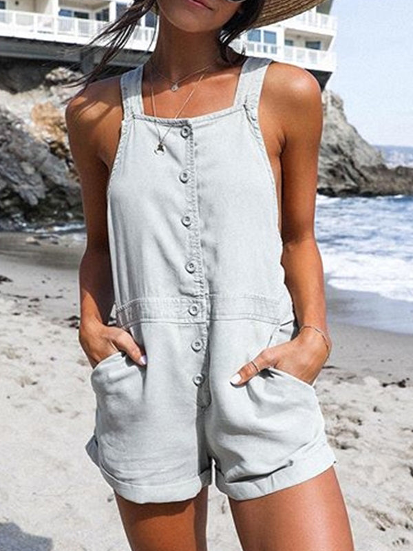 Gray Casual Solid Sleeveless Pockets Jumpsuits