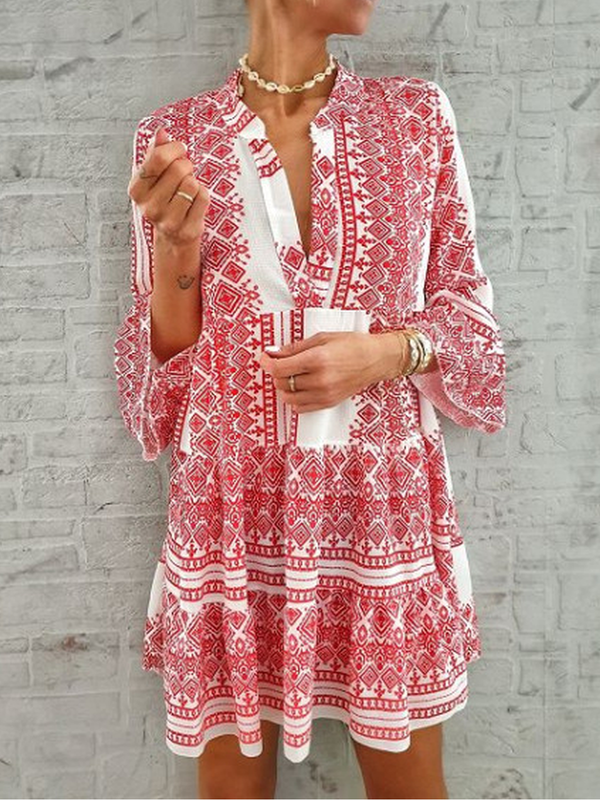Printed Long Sleeve Casual Dresses