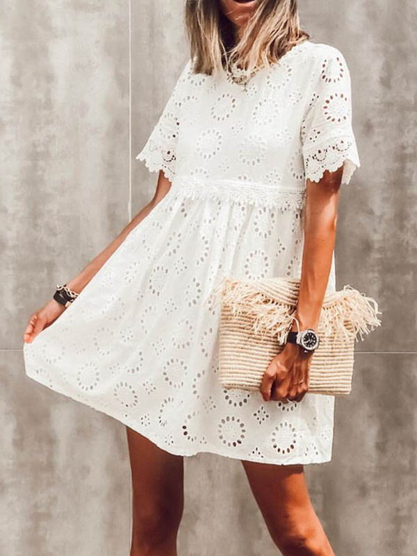 Crew Neck Casual Short Sleeve Dresses