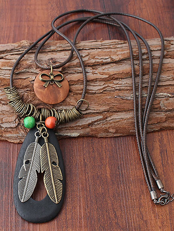 Feather Long Alloy Necklaces