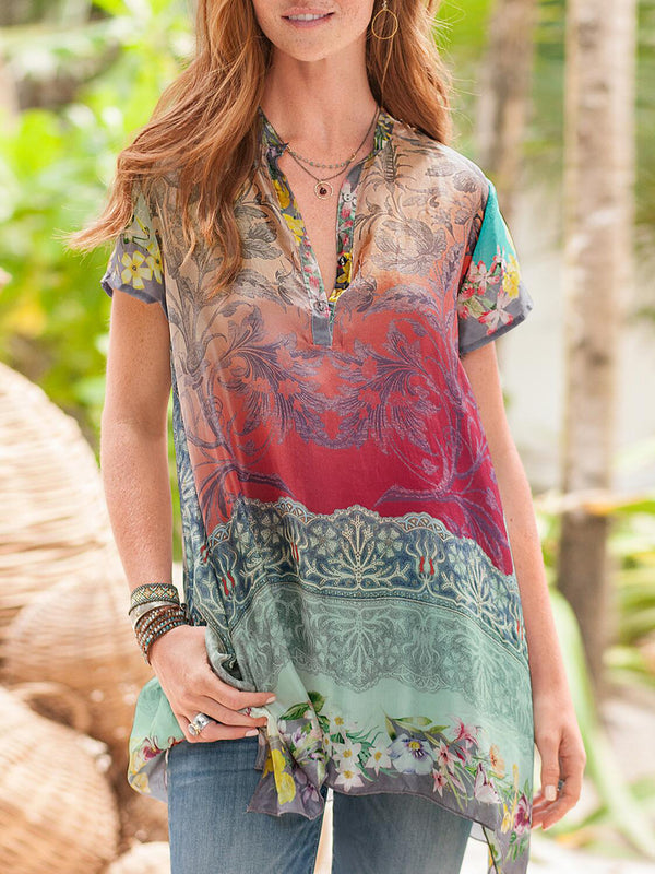 Women Casual Ombre/tie-Dye Shift Stand Collar Shirts & Tops